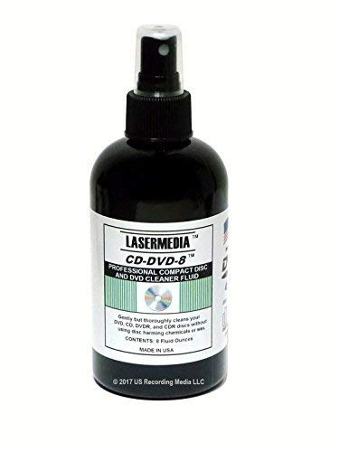Compact Disc CD CDR and DVD DVD-R Cleaning Solution Fluid (Not a Scratch Remover) 8 Ounce Spray Bottle Cleaner CD-DVD-8 Made in USA Lasermedia