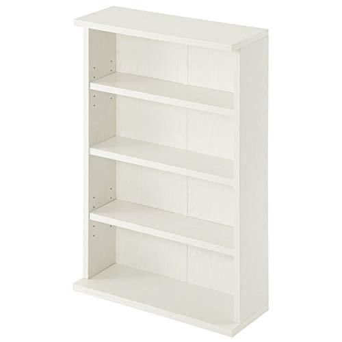 ぼん家具 カラーボックス スリムラック 本棚 薄型 幅60cm 4段 コミック 棚 可動棚 ホワイト