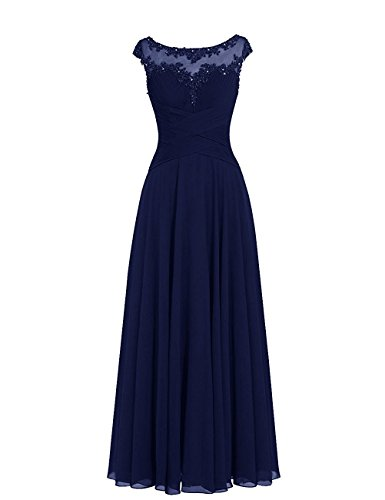 Dresses Onlie Damen Chiffon Abendkleider Elegant Applikation Ballkleid Cocktailkleider Lang Partykleid(Navy Blau,50)