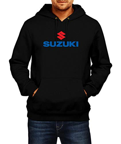 Sweatshirt Suzuki Logo Hoodie Herren Men Car Auto Tee Black Grey Long Sleeves Present Christmas (L, Black)