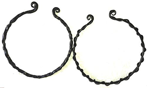 Hand Forged Viking Torc Celtic Necklace (Set of 2) Black