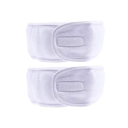 Frcolor Bandeau de maquillage, masque facial pour la douche SPA Bandeau serre-tête en tissu éponge avec fermoir tactile, paquet de 6 (blanc)