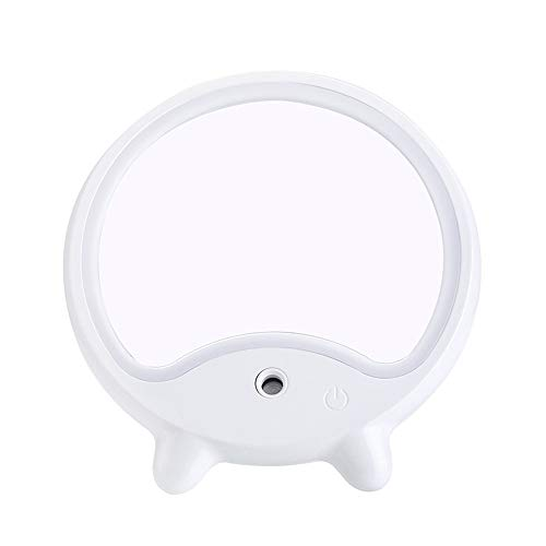 HIL Lampe De Table Miroir De Maquillage Hydratant Beauté, La Lumière LED USB De Remplissage, Miroir De Courtoisie Portable Hydratant Jet Miroir De Maquillage Miroir Hydratantes Cadeau Intime,Blanc