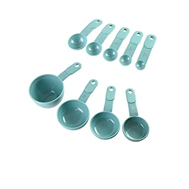 KitchenAid 9-Piece Measuring Cup and Spoon Set, Aqua Sky