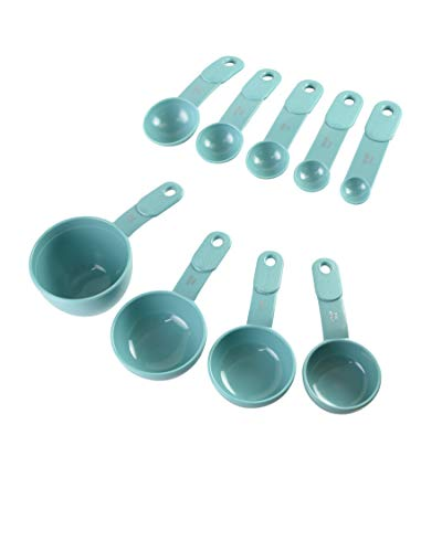 KitchenAid 9-Piece Measuring Cups and Spoons, Set of 9, Aqua Sky