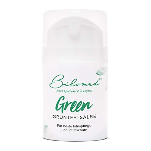 Bilomed Grüntee Intimpflege Creme - Hilft bei Trockenheit, Juckreiz und Brennen - Für einen gesunden Intimbereich - Bekannt aus der Apotheke, 50ml