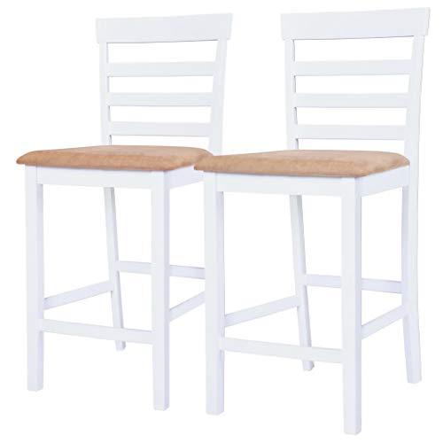 vidaXL Set 2 pz Sedia da Bar Cucina Sala da Pranzo in Legno Bianca e Beige