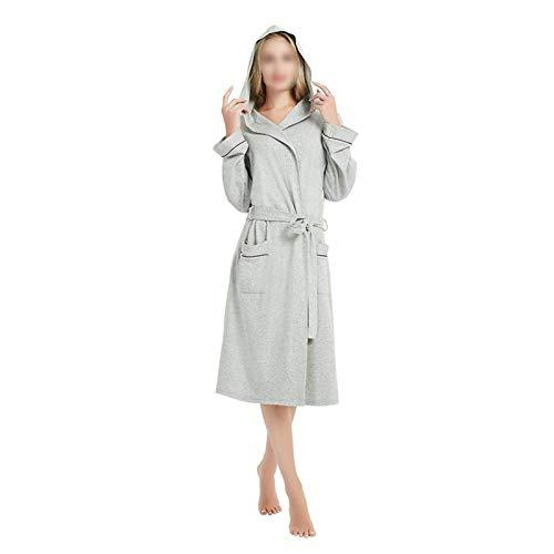 zyy Primavera y otoño Mujeres túnicas más tamaño Simple Tejido algodón con Capucha Albornoz Femenino Fino Manga Larga Albornoz 5XL (Color : Gray, Size : 5XL)