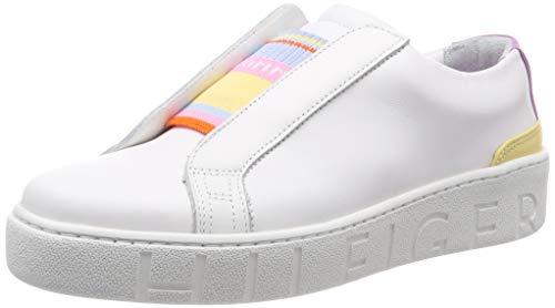 Tommy Hilfiger Tommy Elastic Dress Sneaker, Scarpe da Ginnastica Basse Donna, Bianco (White 100), 39 EU