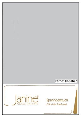 Janine Spannbettlaken Chinchilla 7000, Gr. 100x200 cm, Fb. 18 Silber, Edelflanell