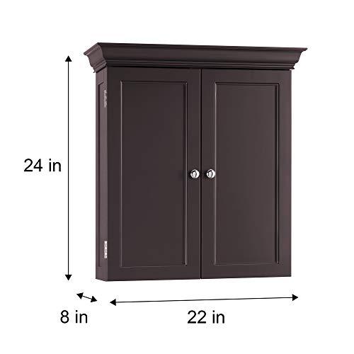 Elegant Home Fashion Stratford Wall Cabinet with 2 Doors-Espresso