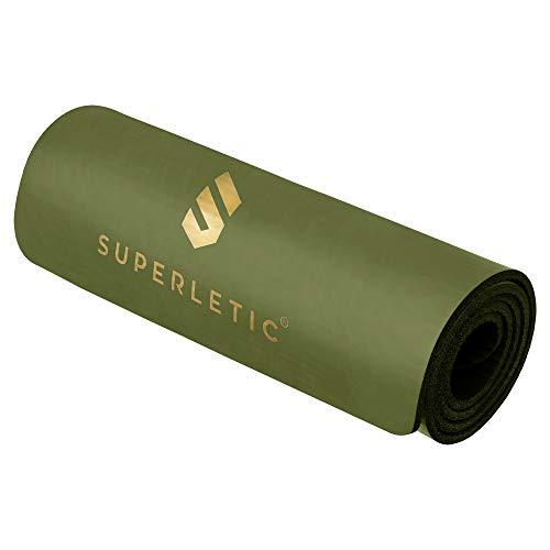 SUPERLETIC Gymnastikmatte, rutschfeste Fitnessmatte, 3 Mattenstärken für Fitness, Turnen, Pilates, Yoga, Hautfreundliche Sportmatte, 180 x 60 x 0, 8 cm, grün