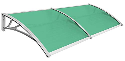 Vordach Haustür Terrassentür Überdachung Haustürdach Pultvordach Alu Kunststoff V2Aox Größenauswahl Farbauswahl, Auswahl:100 x 200 cm - grün