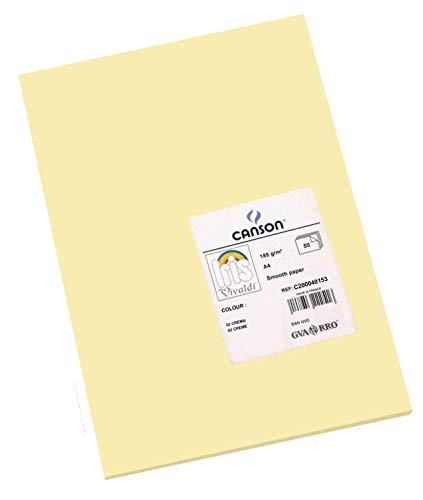 Canson 200040153 Iris Vivaldi glattes, farbiges Papier, A4, creme 02