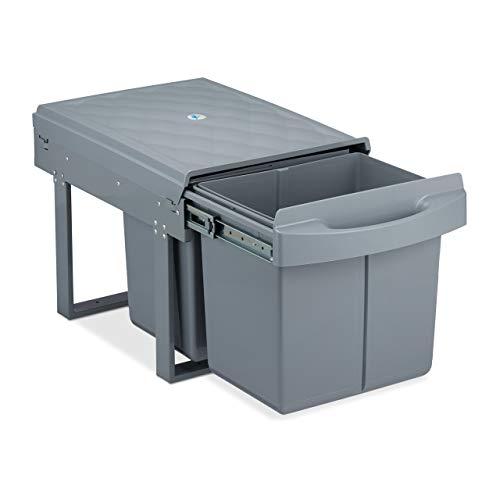 Relaxdays poubelle encastrable coulissante, 2 bacs, système de trie pour le sous-évier, 2x15 l,35x33,5x51,5 cm, gris