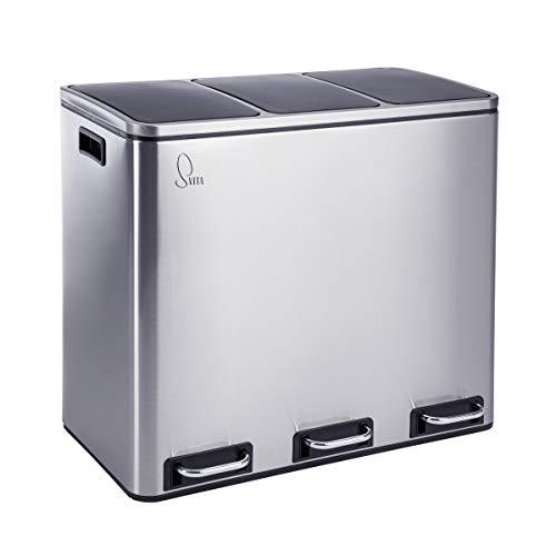 SVITA TM3X18 Edelstahl Treteimer 54 Liter Abfalleimer Mülleimer Design Silber Mülltrennung Papierkorb Küchen-Ordnung Trennsystem