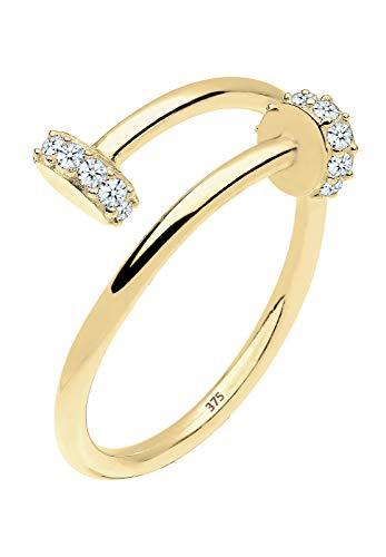 Elli PREMIUM Ring Damen Nagel Statement Diamant (0.14 ct.) in 375 Gelbgold