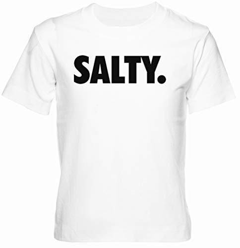 Salty Blanco Unisexo Niño Niña Camiseta Manga Corta Tamaño M Kids Boys Girls T-Shirt White Size M