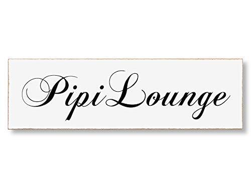Interluxe MDF Türschild PIPI Lounge 200x60mm selbstklebendes Schild für Toilette und WC aus Holz, witziges Party-Geschenk, Party-Deko oder Einzugsgeschenk