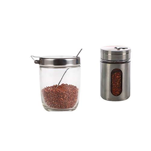 2 Piezas Botella de agitador de condimento de Acero Inoxidable Olla de condimento para el Cuerpo Visible Jarra de condimento Glas con Tapas y Cuchara para Suministros de Cocina (300 ml + 90 ml)