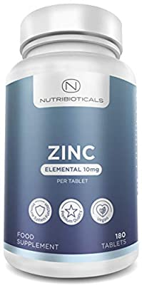 ZINC 10mg Elemental, 6 Months Supply 100% Recommended Daily Amount for healthy immune system, skin, hair & nails, normal growth and reduction of tiredness and fatigue | 180 Tablets