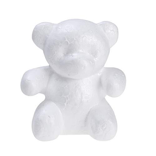BESTOYARD Styropor Figur Bär Schaum Tiere Figur zum DIY Handwerk Bemalen Basteln Dekorieren 15cm (Weiß)