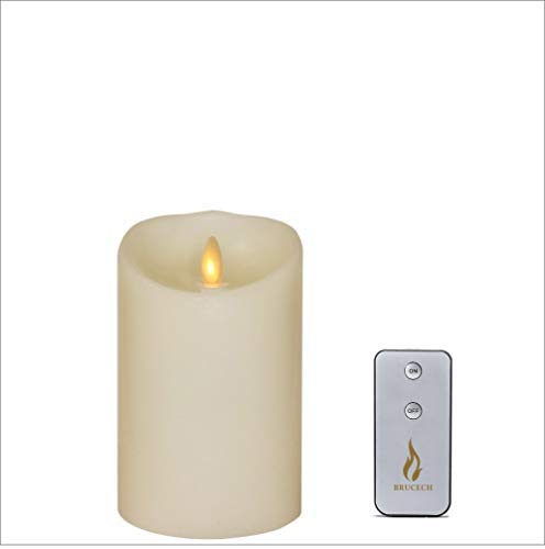 Brucech Flameless Candles Battery Operated LED Pillar Real Wax Flickering Candle with Remote and Timer for Birthday Party amp Christmas Decoration 5quotx35quot Ivory