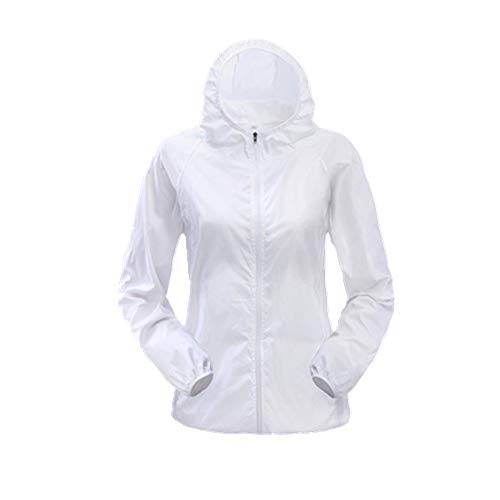 Skin Clothing - Chaqueta de protección solar para mujer, ultra fina, deportiva, de secado rápido, impermeable Blanco blanco S