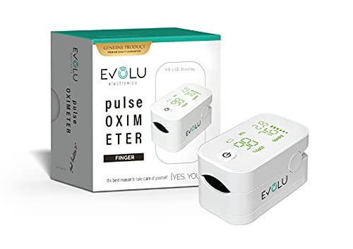 Pulsioxímetro Evolu, pantalla LED, pulsioxímetro de dedo con alarma para medir el pulso, Medición de la saturación de oxígeno, pilas incluidas (blanco)