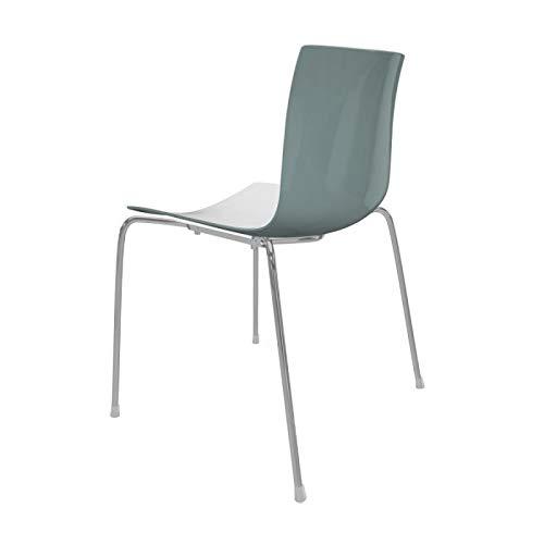 arper Catifa 46 0251 Stuhl zweifarbig Gestell Chrom, weiß Petrol Außenschale glänzend innen matt BxTxH 53,5x50,5x80cm Gestell Stahl vechromt