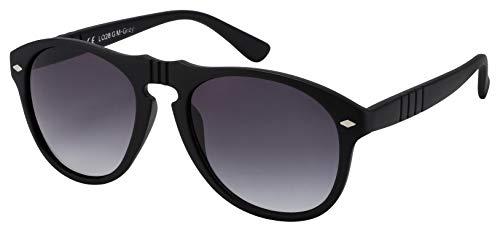 La Optica B.L.M. Sonnenbrille Herren Damen UV400 Fliegerbrille Retro - Matt Schwarz (Gläser: Grau Verlaufsglas)