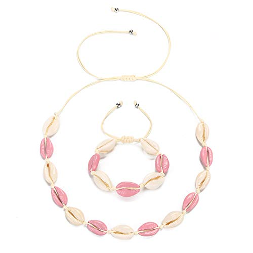 WELLVO Shell Choker Necklace for Women Seashell Necklace Choker Adjustable Summer Beach Necklace Bracelets Set Hawaiian Jewelry for Women Girls Water Pink