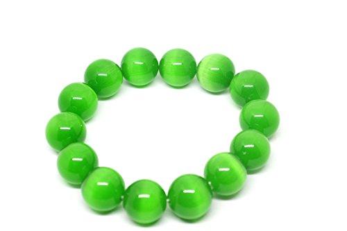 10mm verde de ojo de gato cuentas elástico pulsera
