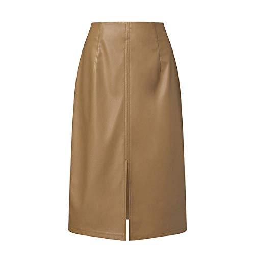 NOBRAND Damen Lederröcke, modisch, Frühlingsröcke, leger, hohe Taille, knielang, mit Reißverschluss Gr. 48, khaki