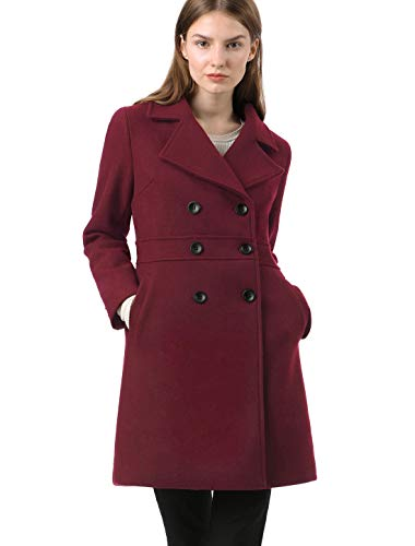 Allegra K Damen Langarm Button Revers Trenchcoat Mantel Weinrot M
