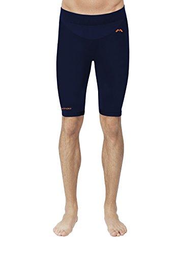 EMMITOU Duo Active Pantalones Cortos de Hombre 01, Azul Marino/Naranja, M