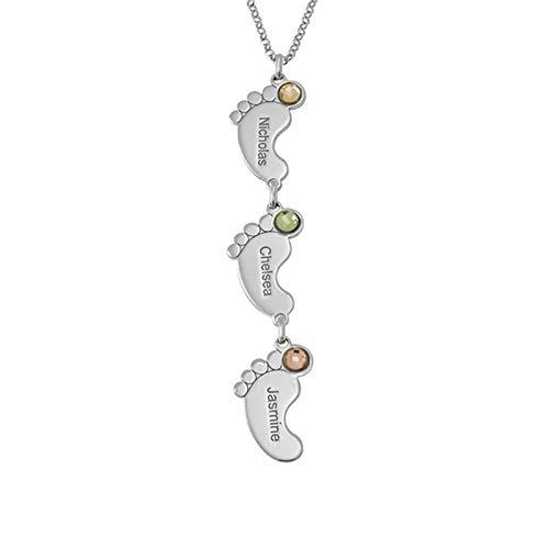 Collar familiar personalizado Colgante de pie vertical Collar con nombre Nombre grabado y collar de promesa de piedra natal(Plata 22)