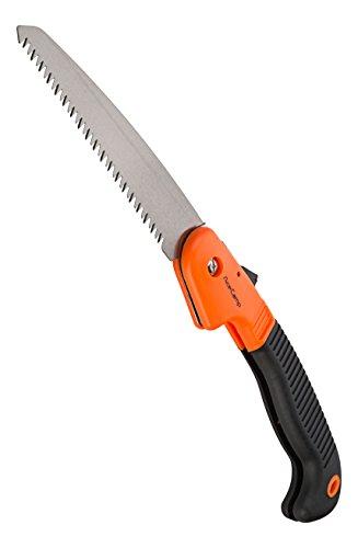 Scie pliable avec fermeture de sécurité - Acier inoxydable - Scie à main pour élaguer - Noir et orange - 2594 - AceCamp
