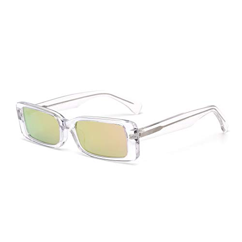 GLINDAR Gafas de Sol Rectangulares Retro Para Mujer Marco de Acetato Cuadrado Estrecho Vintage Claro / Rosa