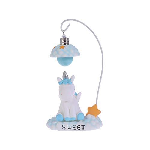 Amosfun - Lámpara de Mesa con diseño de Unicornio y Unicornio, lámpara de Noche, lámpara de Mesa, decoración para Navidad, Boda, Regalo de cumpleaños (Azul)