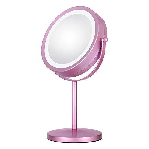Miroir de Maquillage de Bureau, Miroir Double Face, Alliage Fer-Carbone, Ampoule LED intégrée, Rotation à 360 degrés, Face arrière 3 Fois, Bouton Tactile de Miroir de Maquillage