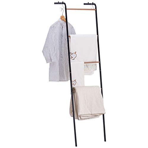 YOUDENOVA Towel Blanket Ladder Rack with Side Rails, Wall Leaning Decorative Bath 4 Tiers Towels Ladder Rack for Clothes Storage in Bathroom, Livingroom, Black and Wooden Finish