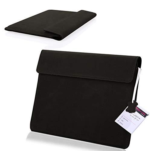 MOELECTRONIX ECHT Leder Tablet Hülle passend für Alcatel Plus 10 Tasche Slim Cover Hülle Schutz Hülle Etui 1A Schwarz