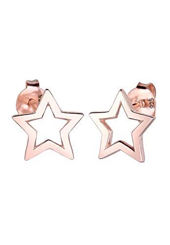 Elli Ohrringe Damen Stern Cut-Out Astro Look Basic Trend in 925 Sterling Silber