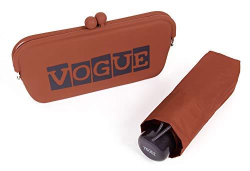 Paraguas Vogue. Paraguas Plegable presentado en un Bonito Estuche Tipo Clutch. Paraguas Mujer Ideal para Regalar y para Viajar. Paraguas protección Solar y antiviento.