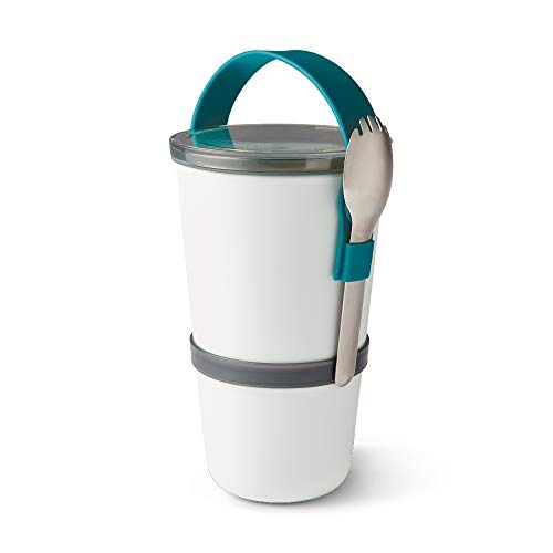 Black+Blum Lunch Pot Original Fiambrera apilable, sin BPA, a Prueba de Fugas, Apta para microondas, con Cuchara de Acero Inoxidable, Océano, 900 ml
