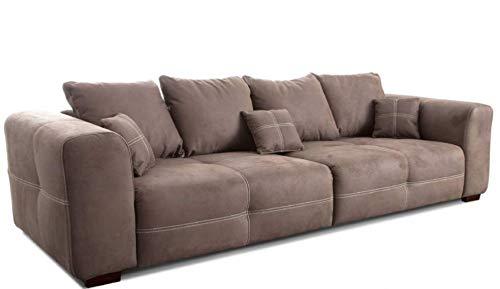 Cavadore Big Sofa Mavericco / Große Couch im modernen Design in Lederoptik / Inklusive Rückenkissen und Zierkissen / 287 x 69 x 108 cm (BxHxT) / Mikrofaser Hellbraun