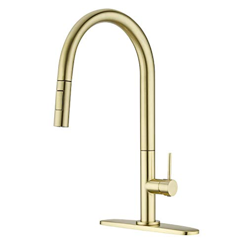 Delle Rosa Kitchen Faucet, Champagne Gold Kitchen Faucet with Pull Down Sprayer, 360 Rotate Gold Kitchen Faucet Pre-Rinse Pull Out Kitchen Faucet with Deck Plate, Lead Free Kitchen Faucet