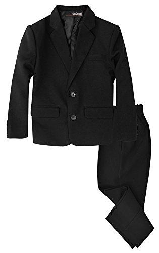G218 Boys 2 Piece Suit Set Toddler to Teen (8, Black)