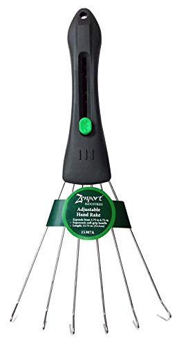 Zenport 15307A Garden Adjustable Hand Rake, Expands from 2.75 to 6.75-inches, Green